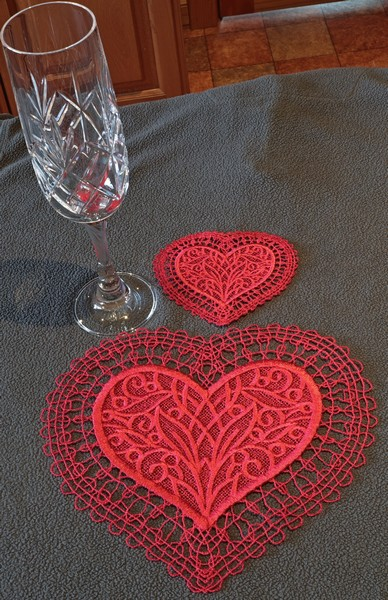 Valentine Lace Coaster and Doily