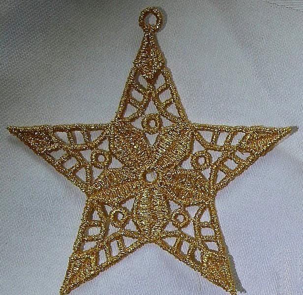 Gold Metallic Thread Hanging Christmas Tree Star